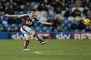 Joey Barton (Burnley) crosses the ball over to the other side of the pitch during the Sky Bet Championship match between Sheffield Wednesday and Burnley at Hillsborough, Sheffield, England on 2 February 2016. Photo by Mark Doherty.