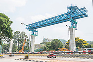 Malaysia / Kuala Lumpur / 10/11th March 2014<br /> <br /> VSL / Creation of the Sungai Buloh - Kajang Line (Blue Line) for MRT Malaysia / Construction sites / Section V6 - Bridge -Erection &amp; PT / A Gantry between two towers<br /> <br /> <br /> <br /> &copy; Daniele Mattioli / CAPA Pictures
