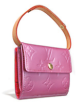 louis vuitton hot pink wallet purse with handle