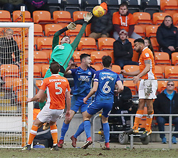 Jonathan Bond of Peterborough United stretches for the ball as Blackpool attack - Mandatory by-line: Joe Dent/JMP - 18/02/2018 - FOOTBALL - Bloomfield Road - Blackpool, England - Blackpool v Peterborough United - Sky Bet League One
