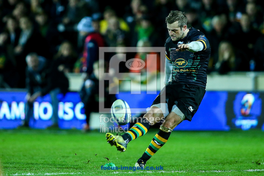 Stephen Myler of Northampton Saints kicks a penalty during the European Rugby Champions Cup match at Franklin's Gardens, Northampton<br /> Picture by Andy Kearns/Focus Images Ltd 0781 864 4264<br /> 18/12/2015