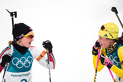 February 12, 2018 - Pyeongchang, SOUTH KOREA - 180212  Marte Olsbu of Norway and Hanna Öberg of Sweden after the Women's Biathlon 10km Pursuit during day three of the 2018 Winter Olympics on February 12, 2018 in Pyeongchang..Photo: Jon Olav Nesvold / BILDBYRÃ…N / kod JE / 160156 (Credit Image: © Jon Olav Nesvold/Bildbyran via ZUMA Press)