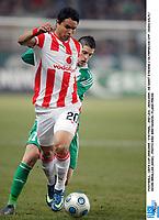 FOOTBALL - UEFA CUP 2008/2009 - 1/16 FINAL - 2ND LEG - 26/02/2009 - AS SAINT ETIENNE v OLYMPIACOS CFP - DUDU (OLY) / KEVIN MIRALLAS (ASSE) - PHOTO ERIC BRETAGNON / FLASH PRESS