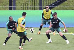 May 23, 2018 - Na - Oeiras, 22/05/2018 - Manuel Fernandes, Ruben Dias e Quaresma durante o primeiro treino da selecção nacional de preparação do Mundial FIFA de futebol Russia2018, esta tarde na Cidade do Futebol. (Credit Image: © Atlantico Press via ZUMA Wire)