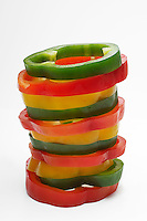 Stacked pepper slices