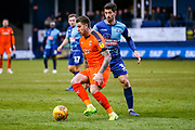 Luton Town midfielder George Moncur turns on Wycombe Wanderers defender Joe Jacobson during the EFL Sky Bet League 1 match between Luton Town and Wycombe Wanderers at Kenilworth Road, Luton, England on 9 February 2019.