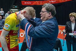 Ceremony after the cup final between Draisma Dynamo and SAMEN.Lycurgus on February 16, 2020 in De Maaspoort in Den Bosch.