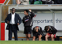 Photo: Paul Thomas.<br /> MK Dons v Swindon Town. Coca Cola League 1.<br /> 01/10/2005.<br /> <br /> Swindon Iffy Onuora and his bench are not happy when they conceed another goal to go down 3 -1.
