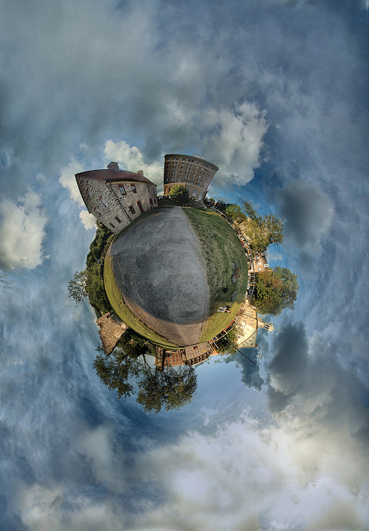 An equirectangular panorama (some call it a tiny planet). Featured here are the smithy, Historic Hotel Bethlehem, Central Moravian Church, The Bretheren House, and Main Street.