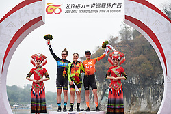 Top three: Chloe Hosking (AUS), Alison Jackson (CAN) Marianne Vos (NED) and  at GREE Tour of Guangxi Women's WorldTour 2019 a 145.8 km road race in Guilin, China on October 22, 2019. Photo by Sean Robinson/velofocus.com