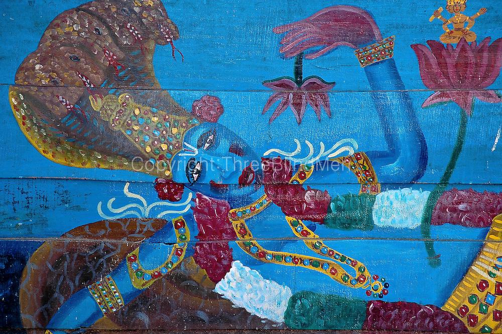 Lord Krishna. Painting at a small temple in South India, near Kanyakumari.