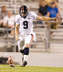 "Virginia kicker Chris Gould (9)..The Virginia Cavaliers football team defeated Middle Tennessee State Blue Raiders 23-21 at Johnny ""Red"" Floyd Stadium  in Murfreesboro, TN on October 6, 2007."