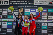 Junior Women Downhill Podium positions: 2nd Anna Newkirk (USA); 1st Valentina Holl (AUT); 3rd Mille Johnset (NOR) at the 2018 UCI MTB World Championships - Lenzerheide, Switzerland