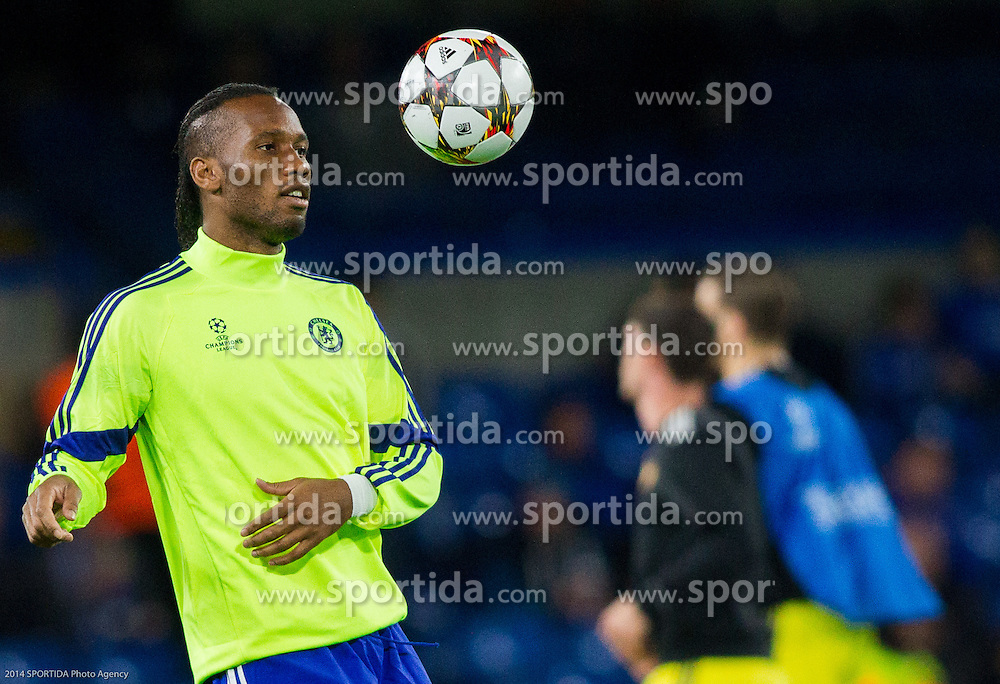 Didier Drogba of Chelsea at warming up prior to the football match between Chelsea FC and NK Maribor, SLO in Group G of Group Stage of UEFA Champions League 2014/15, on October 21, 2014 in Stamford Bridge Stadium, London, Great Britain. Photo by Vid Ponikvar / Sportida.com