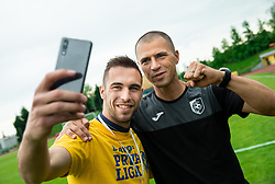 Milan Dzajic and Dejan Grabic during celebration of NK Bravo, winning team in 2nd Slovenian Football League in season 2018/19 after they qualified to Prva Liga, on May 26th, 2019, in Stadium ZAK, Ljubljana, Slovenia. Photo by Vid Ponikvar / Sportida