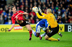 Cardiff City's Heidar Helguson attempts to lob the goal keeper, Peterborough United's Robert Olejnik - Photo mandatory by-line: Dougie Allward/JMP  - Tel: Mobile:07966 386802 15/12/2012 - SPORT - FOOTBALL -  Championship -  Cardiff-  New Cardiff City Stadium  -  Cardiff City v Peterborough United