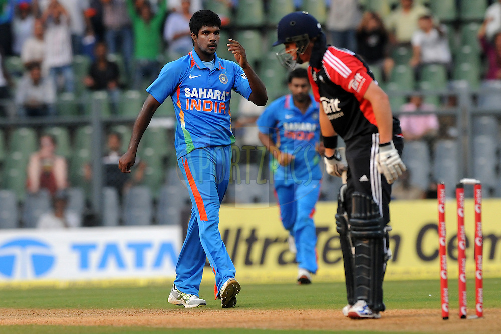 Varun Aaron of India celebrates a wicket during the 4th One Day International ( ODI ) match between India and England held at the Wankhede Stadium, Mumbai on the 23rd October 2011..Photo by Pal Pillai/BCCI/SPORTZPICS