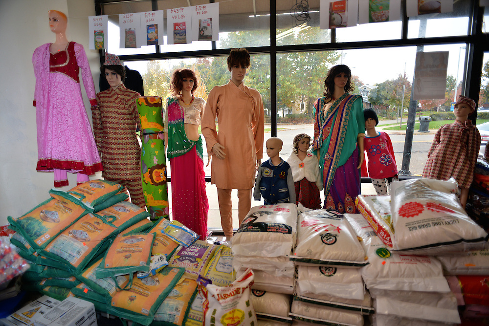 Items for sale and mannequins at Nemaste Nepali-Indian Market.