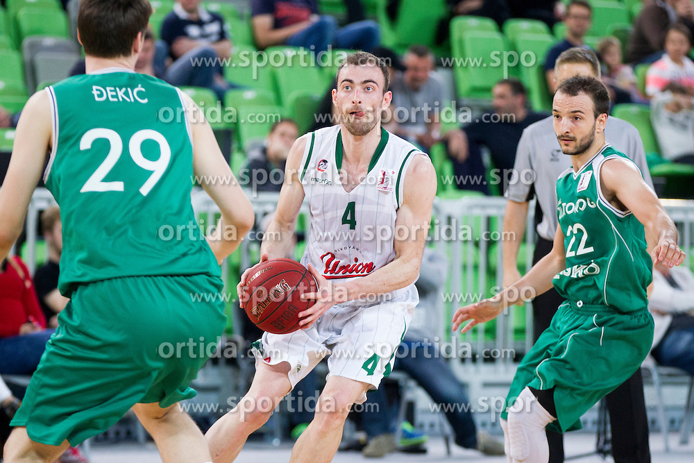 Nikola Pavlicevic #4 of KK Union Olimpija during basketball match between KK Union Olimpija and KK Zlatorog Lasko in semi-final of Nova KBM Champions League 2015/16, on May 23, 2016 in SRC Stozice, Ljubljana, Slovenia. Photo by Urban Urbanc / Sportida