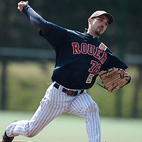 11 April 2010: Mathieu Crescent of Rouen pitches during game  1/week 1 of the French Elite season won 5-1 by Rouen over Montigny, at the Cougars Stadium in Montigny le Bretonneux, France.