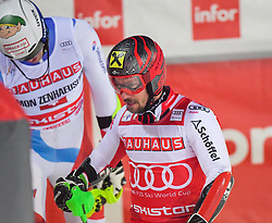 19.02.2019, Stockholm, SWE, FIS Weltcup Ski Alpin, Parallelslalom, Herren, im Bild v.l. Ramon Zenhaeusern (SUI), Marcel Hirscher (AUT) // f.l. Ramon Zenhaeusern of Switzerland Marcel Hirscher of Austria in action during the men's parallel slalom of FIS ski alpine world cup at the Stockholm, Sweden on 2019/02/19. EXPA Pictures © 2019, PhotoCredit: EXPA/ Nisse Schmidt<br /> <br /> *****ATTENTION - OUT of SWE*****