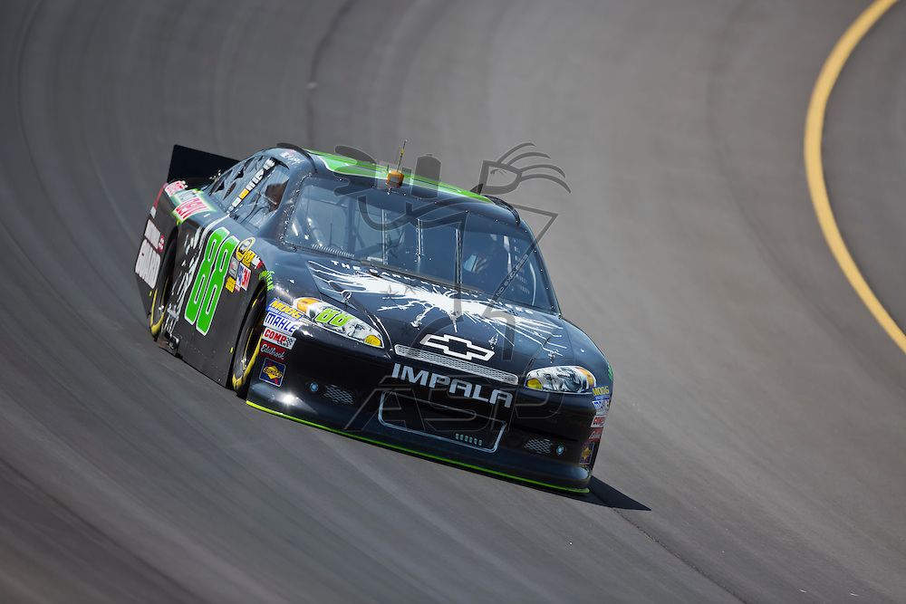 BROOKLYN, MI - JUN 14, 2012:  Dale Earnhardt, Jr. (88) brings his car through the turns during the second test session for the Quicken Loans 400 at the Michigan International Speedway in Brooklyn, MI.
