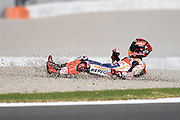 #93 Marc Marquez, Spanish: Repsol Honda Team falls from the new bike during 2020 MotoGP Testing at Circuito Ricardo Tormo Cheste, Valencia, Spain on 19 November 2019.
