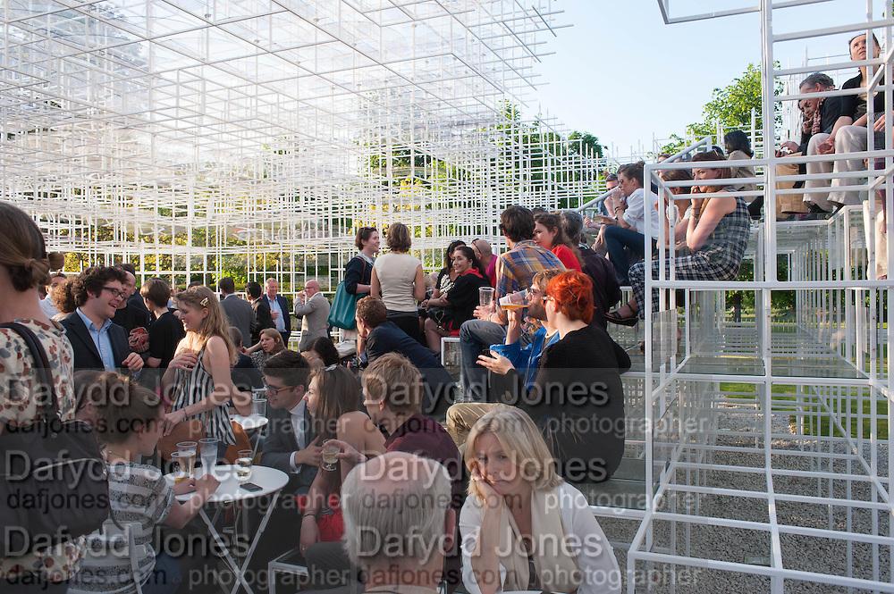 Private view, Serpentine Gallery Pavilion 2013. Designed by Sou Fujimoto. Kensington Gardens. 6 June 2013.