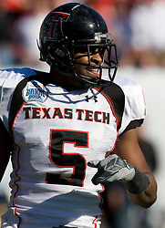 Texas Tech wide receiver Michael Crabtree (5) during the Gator Bowl.  The Texas Tech Red Raiders defeated the Virginia Cavaliers 31-28 in the 2008 Konica Menolta Gator Bowl held at the Jacksonville Municipal Stadium in Jacksonville, FL on January 1, 2008.