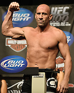 LAS VEGAS, NEVADA, JULY 10, 2009: Mark Coleman poses on the scales during the weigh-in for UFC 100 inside the Mandalay Bay Events Center in Las Vegas, Nevada