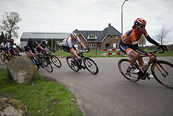 Mieke Kröger (GER) of CANYON//SRAM Racing leans into a corner during the last lap of Stage 4 of the Healthy Ageing Tour - a 126.6 km road race, starting and finishing in Finsterwolde on April 8, 2017, in Groeningen, Netherlands.