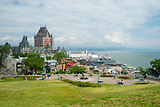 High angle view of the Chateau Frontenac and the Saint Lawrence River, from the Citadelle de Quebec, Canada.