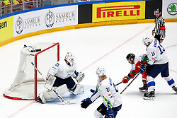 Luka Gracnar of Slovenia, Christopher Bodo of Hungary and Blaz Gregorc of Slovenia during ice hockey match between Hunngary and Kazakhstan at IIHF World Championship DIV. I Group A Kazakhstan 2019, on May 3, 2019 in Barys Arena, Nur-Sultan, Kazakhstan. Photo by Matic Klansek Velej / Sportida