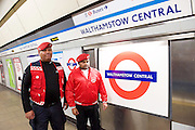 Sadia Khan at London's Night Tube launch at Brixton tube station, London, Great Britain <br /> 19th August 2016 <br /> <br /> Guardian Angels patrol the station <br /> <br /> Sadia Khan, mayor of London,  launched the first night tube service and travelled on a tube train between Brixton and Walthamstow on the Victoria Line. <br />  <br /> He launched the first 24 hour Friday and Saturday night services on the Central and Victoria lines <br /> <br /> Photograph by Elliott Franks <br /> Image licensed to Elliott Franks Photography Services