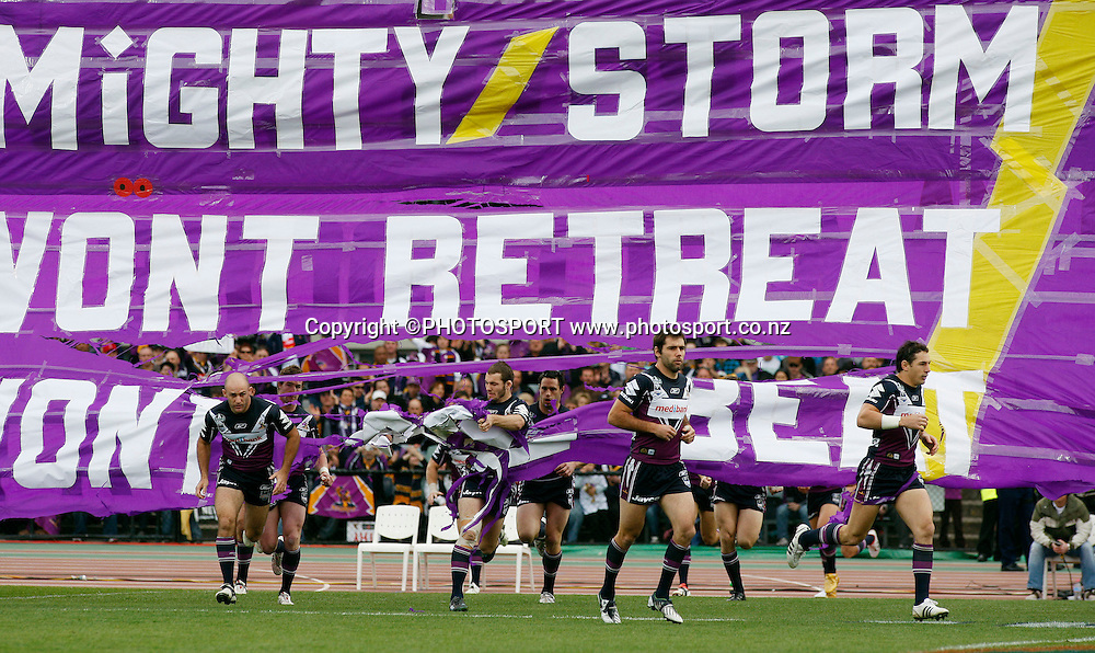 Storm players enter the field.<br />