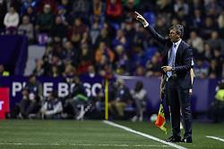 April 19, 2018 - Valencia, Valencia, Spain - Jose Gonzalez head coach of Malaga CF reacts during the La Liga game between Levante UD and Malaga CF at Ciutat de Valencia on April 19, 2018 in Valencia, Spain  (Credit Image: © David Aliaga/NurPhoto via ZUMA Press)