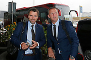 BELGRADO - 16-09-2015, aankomst vertrek AZ - FK Partizan, Partizanstadion, Assistent trainer Dennis Haar (l), AZ trainer John van den Brom (r).