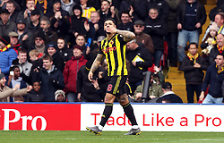File photo dated 16-03-2019 of Watford's Andre Gray celebrates scoring his side's second goal of the game against Crystal Palace during the FA Cup quarter final match at Vicarage Road, Watford.