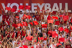 21-09-2014 POL: FIVB WK Finale Polen - Brazilie, Katowice<br /> Feature Zuschauer / Fans Polen, publiek item creative support<br /> <br /> ***NETHERLANDS ONLY***