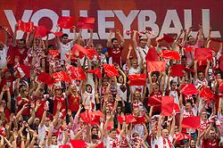 21-09-2014 POL: FIVB WK Finale Polen - Brazilie, Katowice<br /> Feature Zuschauer / Fans Polen, publiek item creative support<br /> <br /> ***NETHERLANDS ONLY***