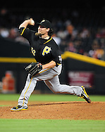 Sep. 20 2011; Phoenix, AZ, USA; Pittsburgh Pirates pitcher Joel Hanrahan (52) delivers a pitch during the ninth inning against the Arizona Diamondbacks at Chase Field.  The Pirates defeated the Diamondbacks 5 - 3. Mandatory Credit: Jennifer Stewart-US PRESSWIRE..