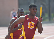 Mar 18, 2017; Los Angeles, CA, USA: T.J. Bock runs the anchor leg on the Southern California Trojans 4 x 100m relay that won in 39.31 during the Trojan Invitational at Cromwell Field.