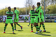 Forest Green Rovers Keanu Marsh-Brown(7) scores a goal 1-0 and celebrates with Forest Green Rovers Drissa Traoré(4) during the Vanarama National League match between Forest Green Rovers and Maidstone United at the New Lawn, Forest Green, United Kingdom on 22 April 2017. Photo by Shane Healey.