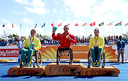 England's Joseph Townsend (centre) celebrates winning gold in the Men's Para-triathlon Final with Australia's Nic Beveridge (Silver) and Bill Chaffey (Bronze) at the Southport Broadwater Parklands during day three of the 2018 Commonwealth Games in the Gold Coast, Australia.