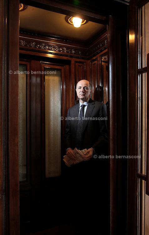 Milano, Corrado Passera, consigliere delegato Intesa San Paolo , Corrado Passera, CEO of the Intesa Sanpaolo banking group, was named to head the new ministry of development, infrastructure and transport, of the Italian governemt headed by Mario Monti.
