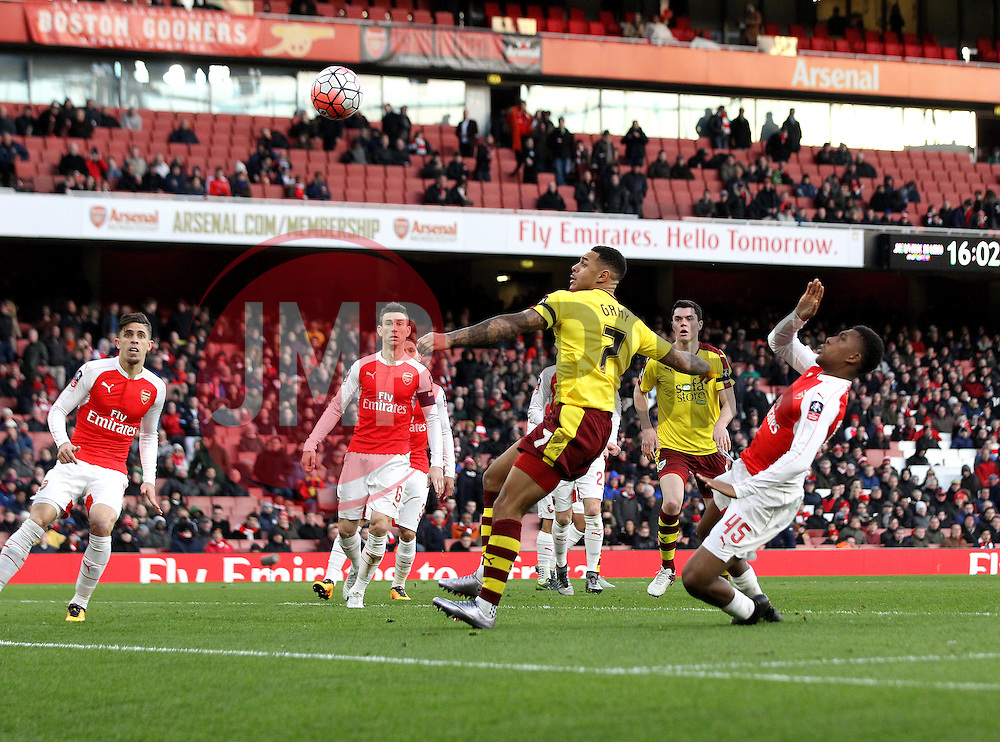 Andre Gray of Burnley watches an effort on goal go wide - Mandatory byline: Robbie Stephenson/JMP - 30/01/2016 - FOOTBALL - Emirates Stadium - London, England - Arsenal v Burnley - FA Cup Forth Round