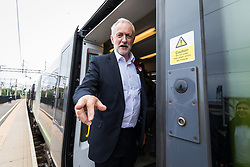 © Licensed to London News Pictures. 07/06/2017. London, UK. JEREMY CORBYN stands for a photograph as he boards a train at Watford Junction after speaking to Labour supporters at a rally in Watford the day before Britain heads to the polls for the General Election. Photo credit: Rob Pinney/LNP