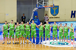 Players of Slovenia (L-R): Gezim Morina of Slovenia, Ziga Dimec of Slovenia, Miha Lapornik of Slovenia, Marko Pajic of Slovenia, Matej Rojc of Slovenia, Alen Omic of Slovenia, Miha Vasl of Slovenia, Jure Besedic of Slovenia, Jaka Brodnik of Slovenia, Luka Rupnik of Slovenia, Jan Span of Slovenia and Klemen Prepelic of Slovenia during basketball match between National teams of Latvia and Slovenia in Qualifying Round of U20 Men European Championship Slovenia 2012, on July 16, 2012 in Domzale, Slovenia. (Photo by Vid Ponikvar / Sportida.com)