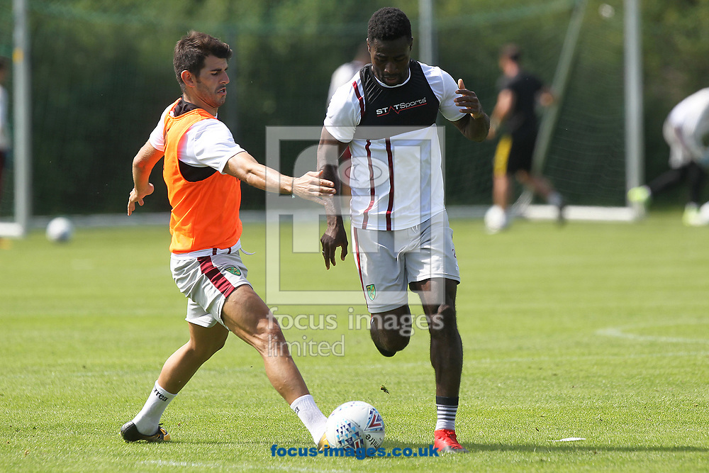 Nelson Oliveira of Norwich and Alexander Tettey of Norwich during the Norwich City Pre-Season Training session at Hotel Klosterpforte, Harsewinkel, Germany<br /> Picture by Paul Chesterton/Focus Images Ltd +44 7904 640267<br /> 18/07/2017