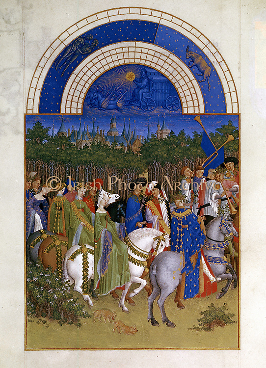 May: Lords and ladies, mounted, progressing along road by woods, preceded by trumpeters. At top are two zodiacal signs for May, Taurus and Gemini. From 'Tres Riches Heures du Duc de Berry'. Book of hours by Limbourg brothers pre-1416. Musee Condee, Chantilly.